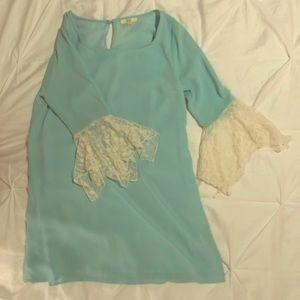 3/4 lace detailed sleeve teal dress 👗👗👗